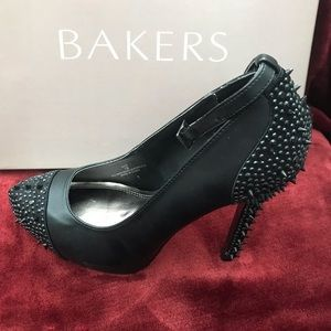 Bakers Black  Vice Studded/Spiked Heels Platforms